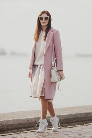light pink romwe coat - white Rebecca Minkoff bag