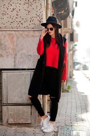 black romwe coat - red romwe sweater