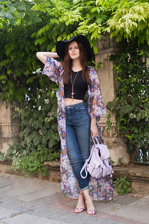 light purple Missguided jacket - black H&M hat - light purple Missguided heels