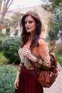 Orange-sheinside-blouse-brick-red-zara-skirt