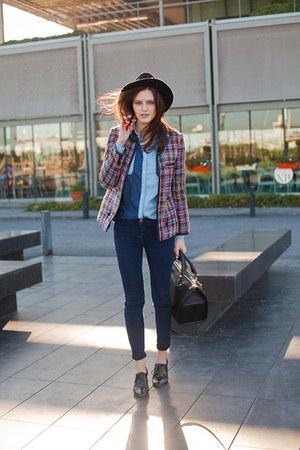 deep purple Front Row Shop jacket - navy pull&bear jeans