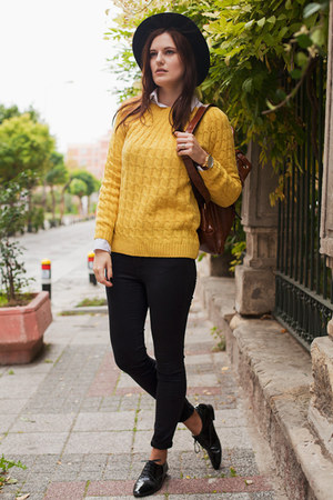 yellow BangGood sweater - black Zara hat - black Zara pants