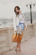 sky blue Chicwish skirt - white BB Dakota jacket