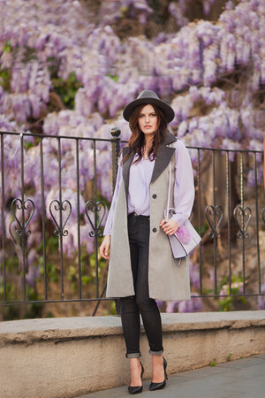 heather gray DressLink coat - periwinkle Rebecca Minkoff bag