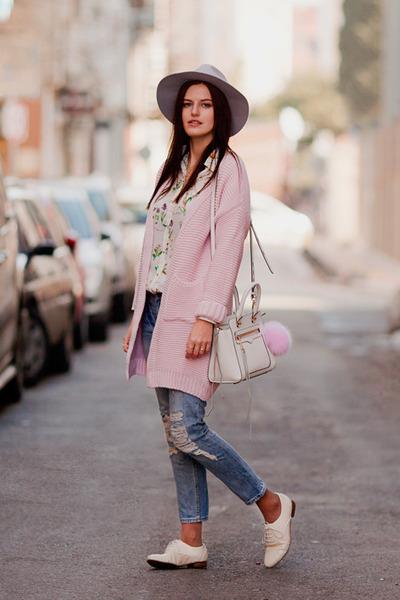 white Rebecca Minkoff bag - white romwe blouse - light pink Sheinside cardigan