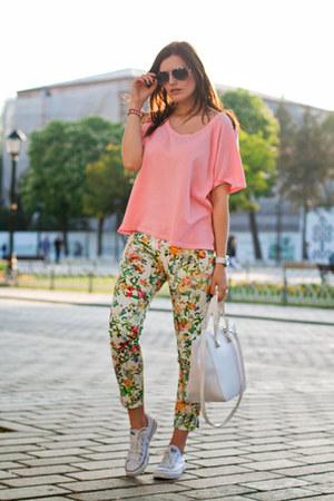 bubble gum Zara top - ivory Zara bag - white Zara pants