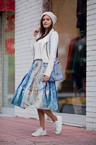 white Chicwish sweater - sky blue Chicwish skirt