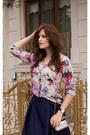 Navy-romwe-skirt-white-romwe-blouse