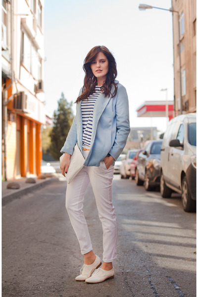light blue Wholesale7 coat - white Zara pants