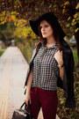 Black-h-m-hat-black-mango-jacket-white-banggood-shirt-ruby-red-adl-pants