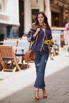 navy Sheinside blouse - navy Sheinside jeans - burnt orange H&M bag
