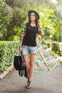 green Sheinside jacket - sky blue Stradivarius shorts - black Mango top