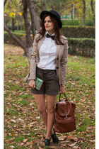 tan Mango blazer - black Zara bag - brown Mango shorts