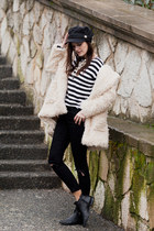 ivory StyleMoi coat - black StyleMoi hat