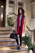 red PERSUNMALL scarf - tan ted baker coat - black Zara bag