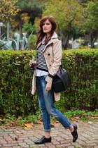 beige BangGood coat - blue Zara jeans - black Mango jumper