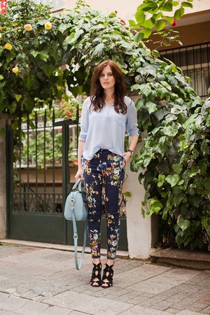 sky blue Sheinside blouse - navy Sheinside pants