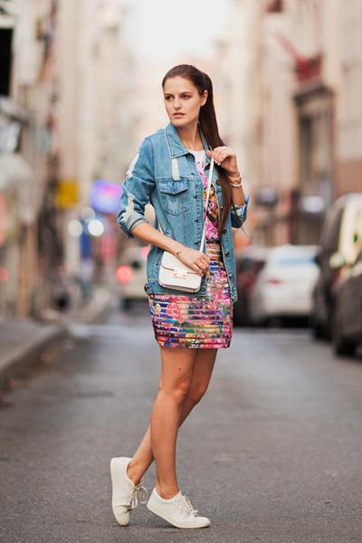 blue Sheinside jacket - pink PERSUNMALL skirt