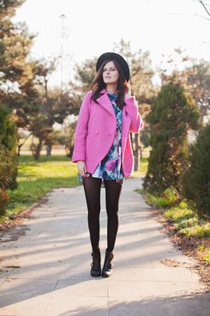 hot pink Sheinside coat - bubble gum Sheinside dress