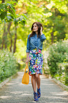 yellow pauls boutique bag - blue DressLink shirt - blue DressLink skirt