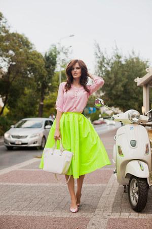 lime green romwe skirt - bubble gum DressLink blouse