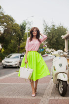 lime green romwe skirt - bubble gum DressLink blouse