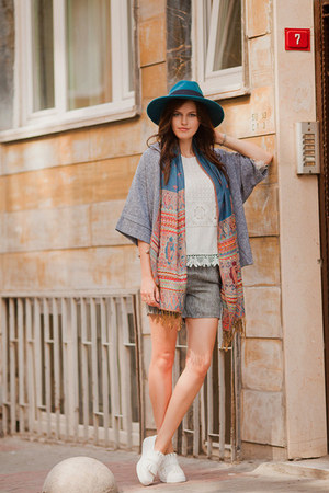 blue Sheinside scarf - heather gray Sheinside jacket