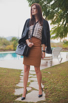white PERSUNMALL shirt - black Mango jacket - gold Koton skirt