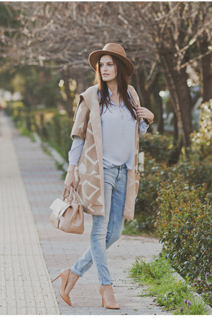 beige Zara bag - nude Yoins coat