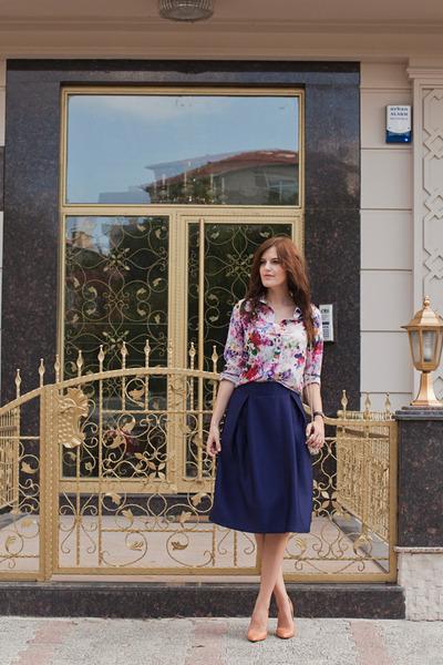 navy romwe skirt - white romwe blouse