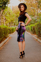 purple Koton skirt - black Zara hat - black Bershka top - black Zara sandals