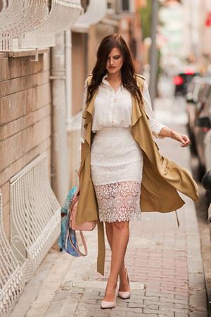 white DressLink skirt - camel romwe cardigan