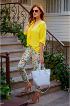 yellow H&M blouse - white Zara pants