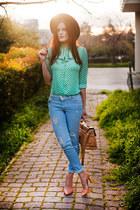 aquamarine Sheinside blouse - sky blue m2f jeans - beige Zara pumps