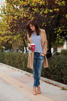 camel ted baker coat - navy Zara jeans - blue Zara top