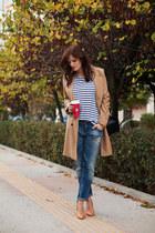 camel ted baker coat - navy Zara jeans - blue Zara top