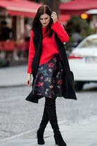black stuart weitzman boots - black romwe coat - ruby red romwe sweater