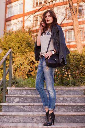 blue Zara jeans - black Mango jacket - silver Zara t-shirt