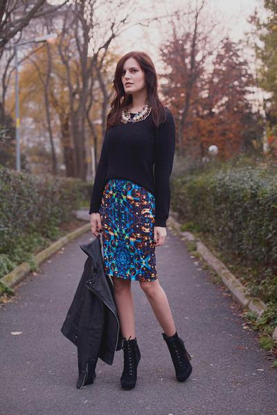 navy asos skirt - black Stradivarius sweater