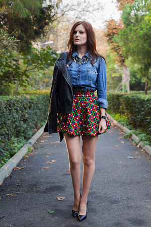 red Let them stare skirt - black Mango jacket - blue Stradivarius shirt