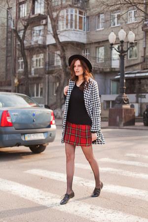 red asos skirt - black Sheinside coat