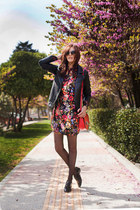 red Mango dress - black Mango jacket