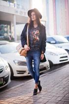 dark gray Mango coat - blue asos jeans - nude Rosewholesale bag