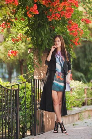 black style moi jacket - light purple romwe dress