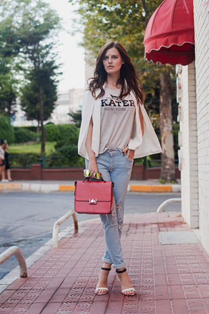 white Sheinside blazer - red Zara bag