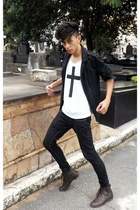 black Thrift Shop blazer - dark brown boots - white DIY t-shirt