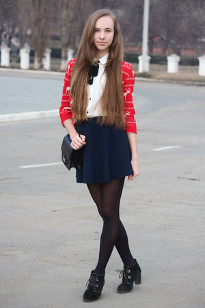 red Forever 21 cardigan - black Mango bag - navy Forever 21 skirt