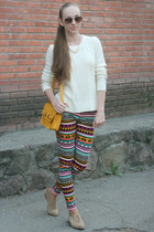 white Forever 21 sweater - gold Bershka bag - gold H&M pants