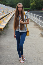 white Zara t-shirt - gold Bershka bag - navy Bershka pants