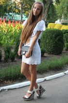 white Stradivarius dress - black Mango bag - dark gray Zara wedges